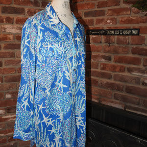 Lilly Pulitzer Blue Seashell Blouse XL